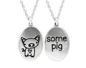 Sterling Silver Piglet Necklace - Pig Pendant - Charlotte's Web Medallion
