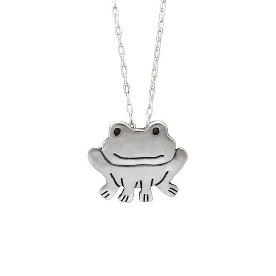Sterling Silver Girls .8mm Box Chain 3D Enameled Sitting Frog Pendant Necklace