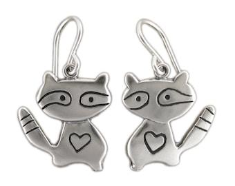 Raccoon Earrings - Sterling Silver Raccoon Earrings - Bandit