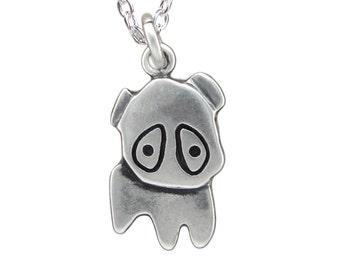Little Pug Sterling Necklace - Silver Dog Pendant