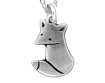 Little Wild Fox Necklace - Sterling Silver Fox Pendant or Charm