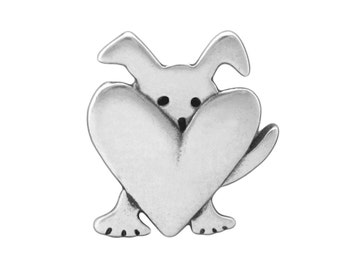Peeking Dog Necklace - Sterling Silver Dog Necklace - Dog with Heart