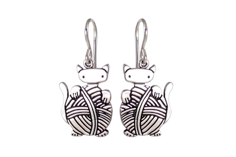 Knitting Cat Earrings  Sterling Silver Knitten Earrings image 0