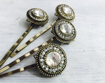 Antiqued Gold Rhinestone Hair Pins, bridal, special occasion bobby pins, sold individually