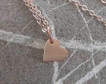 Small Rose Gold Heart Charm - 18K Rose Gold Plate Flat Heart Necklace - Tiny Vermeil Gold Heart - 18 Inch Rose Gold Chain Option