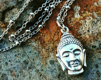 """Buddha Necklace - Unique Sterling Silver Yoga Jewelry - Silver Buddha Head on 16"""" Beaded Chain - Beautiful Details"""