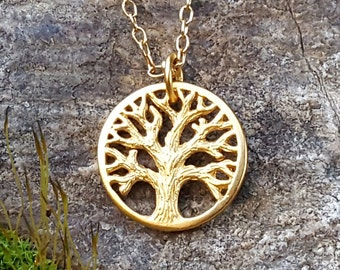 Gold Tree of Life Charm - Rustic Tree Necklace Charm 24K Gold on Bronze - Custom Length Chain Available DISCONTINUED STYLE