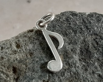 Tiny Music Note Charm - Sterling Silver Small Musical Necklace - Optional Custom Length Chain