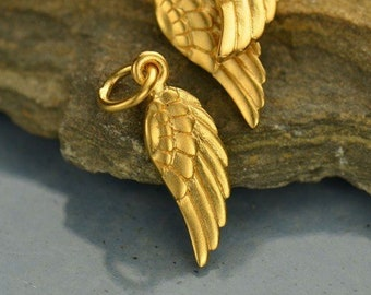 Tiny Gold Angel Wing Charm - 24K Gold over Bronze Guardian Angel Wing Charm - Small Gold Wing for Protection - In Memory Necklace