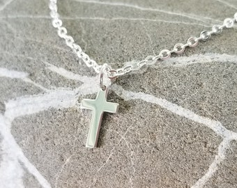 Small Silver Cross Necklace - Tiny Cross on Custom Length Silver Chain with Lobster Clasp - Birthstone Option
