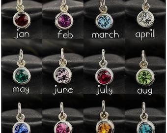 Birthstone Charm Sterling Silver - Tiny Birthstone - Birth Month Necklace - Genuine Swarovski Crystal - Charm Only or On A Silver Chain