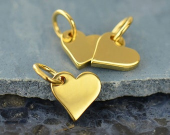 Small Gold Heart Charm - Vermeil - 14K Yellow Gold Flat Heart Necklace - Tiny Gold Heart