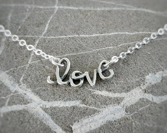 Love Word Necklace - Sterling Silver with Lobster Clasp - I Love You Festoon