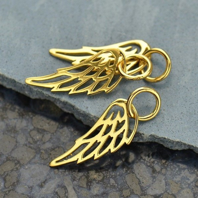 Tiny 14K Gold Angel Wing Charm  Vermeil Style  Small image 0