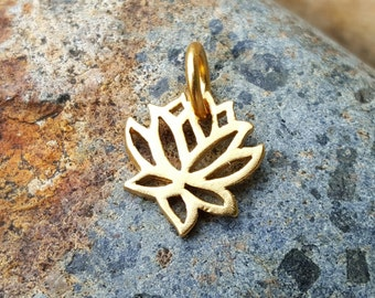 Tiny Gold Lotus Charm VERY SMALL Vermeil - Gold Lotus Necklace - 24K Gold over Sterling Silver - Optional Custom Length Gold Chain