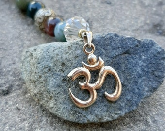Om Rear View Mirror Charm - Tibetan Prayer Bead - Gemstone and Crystal - Oil Diffusing Lava Beads for Essential Oils