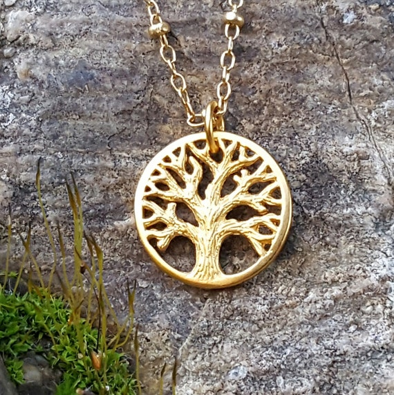 14k Solid Yellow Gold Tree of Life Charm//Pendant for Adults 15 mm