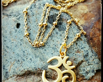 Gold Om Necklace - Yoga Jewelry - 18 Inch Gold Beaded Chain with Simple 24K Gold Om Charm - Vermeil Om Pendant