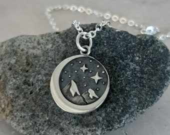 Mountains Moon and Stars Necklace Charm - Sterling Silver Starry Night Sky Charm  - Mountain Range 3D - Optional Custom Length Silver Chain