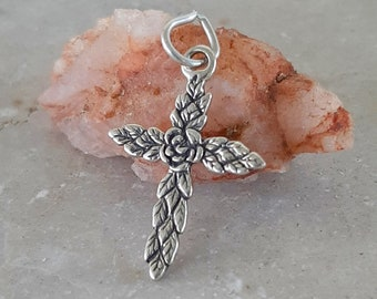 Small Rose Accented Cross Sterling Silver - Flower Cross Charm - Cross Necklace for Little Girl, Teenager, Woman