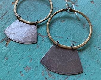 Mezzaluna Earrings - small brass hoop, hammered silver blade