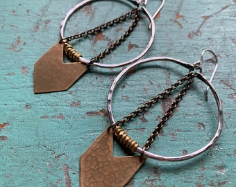 Silver Warrior Earrings w/ Brass Chevron - Medium