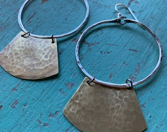 Mezzaluna Earrings - medium silver hoop, hammered light brass blade