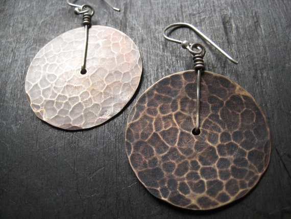 Medium Brass Disk Earrings