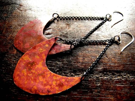 Large Pendulum Earrings - Copper