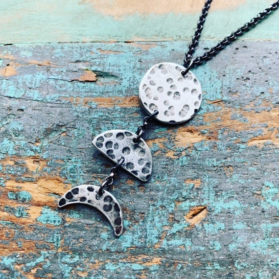 Small 3 Moon Phases Necklace - Vertical