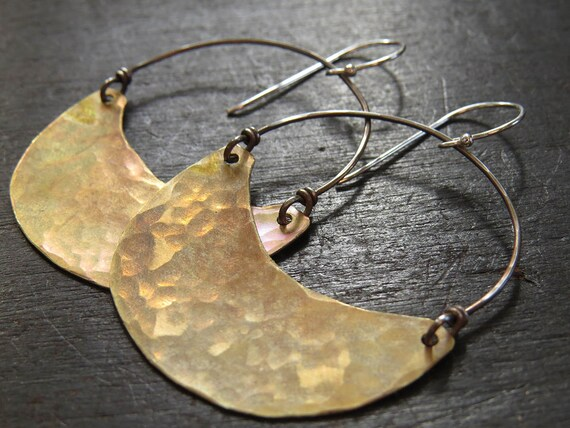Large Brass Crescent Earrings