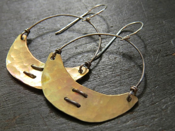 Small Brass Crescent Earrings