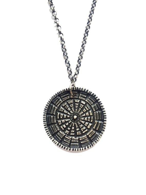 SALE Reversible Carved Medallion - Sterling