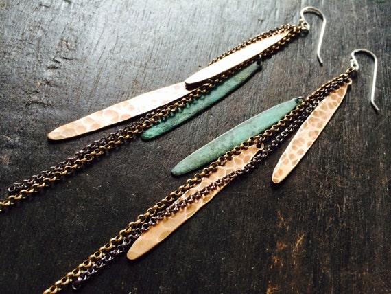 Verdigris Metal Feather Earrings