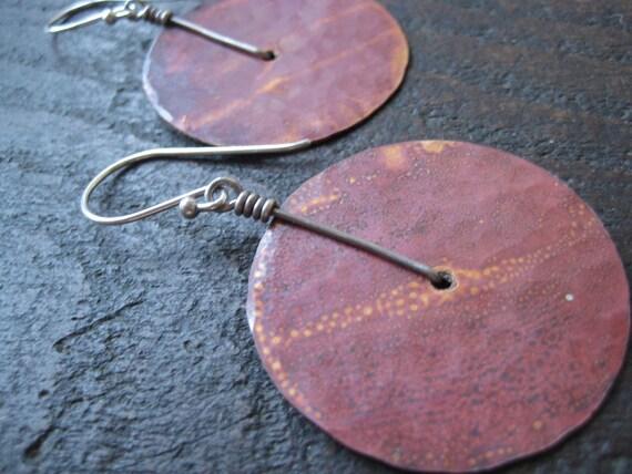 Medium Copper Disk Earrings