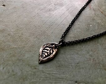 Tiny Reversible Sterling Leaf Pendant on Sterling Chain