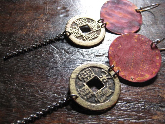 Copper, Coin and Chain Earrings