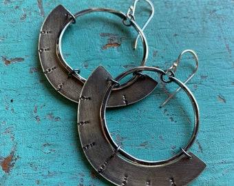 Mezzaluna Earrings - Small silver hoop, thin stamped brass blade
