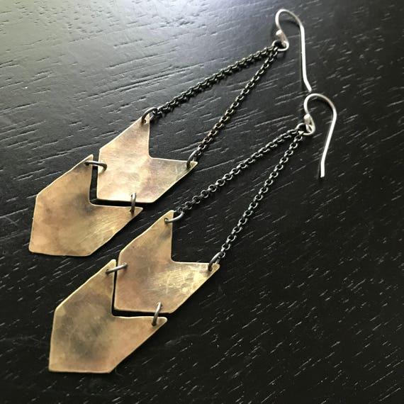 Brass Chevron Earrings - Double