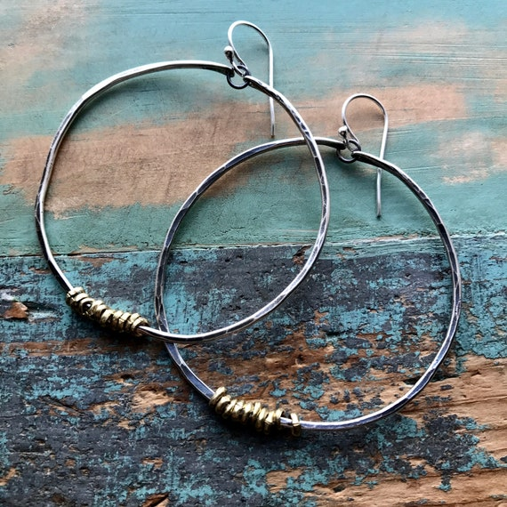 Large sterling forged hoops with brass hishi