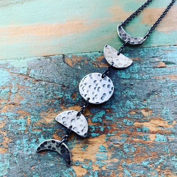 Small Moon Phases Necklace - Vertical