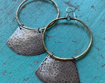 Mezzaluna Earrings - medium brass hoop, hammered silver blade