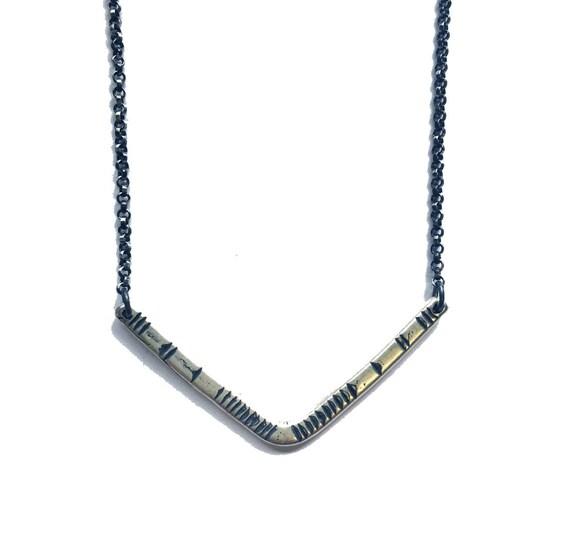 Carved V Necklace - Sterling