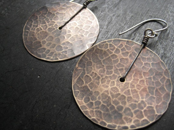 Large Brass Disk Earrings