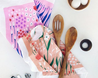 Floral Tea Towels, Kitchen Towels, Dishcloths, Linens, Dishtowels - Screen Printed 100% Cotton