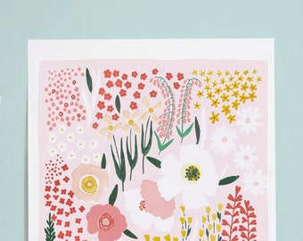 """LIMITED EDITION Floral Art Print """"Anemone Garden"""" in pink - 12x16"""
