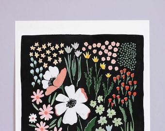 "Floral Art Print, ""Eventide"" - 12x16"
