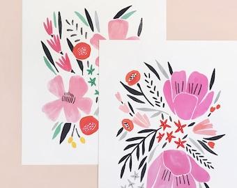 Bouquet Art Prints, Set of 2 - 8x10