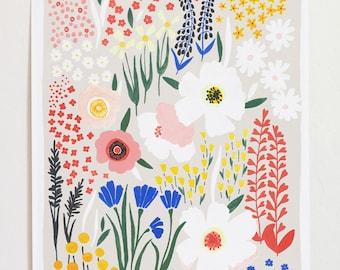 """Floral Art Print """"Anemone Garden"""" - 12x16"""
