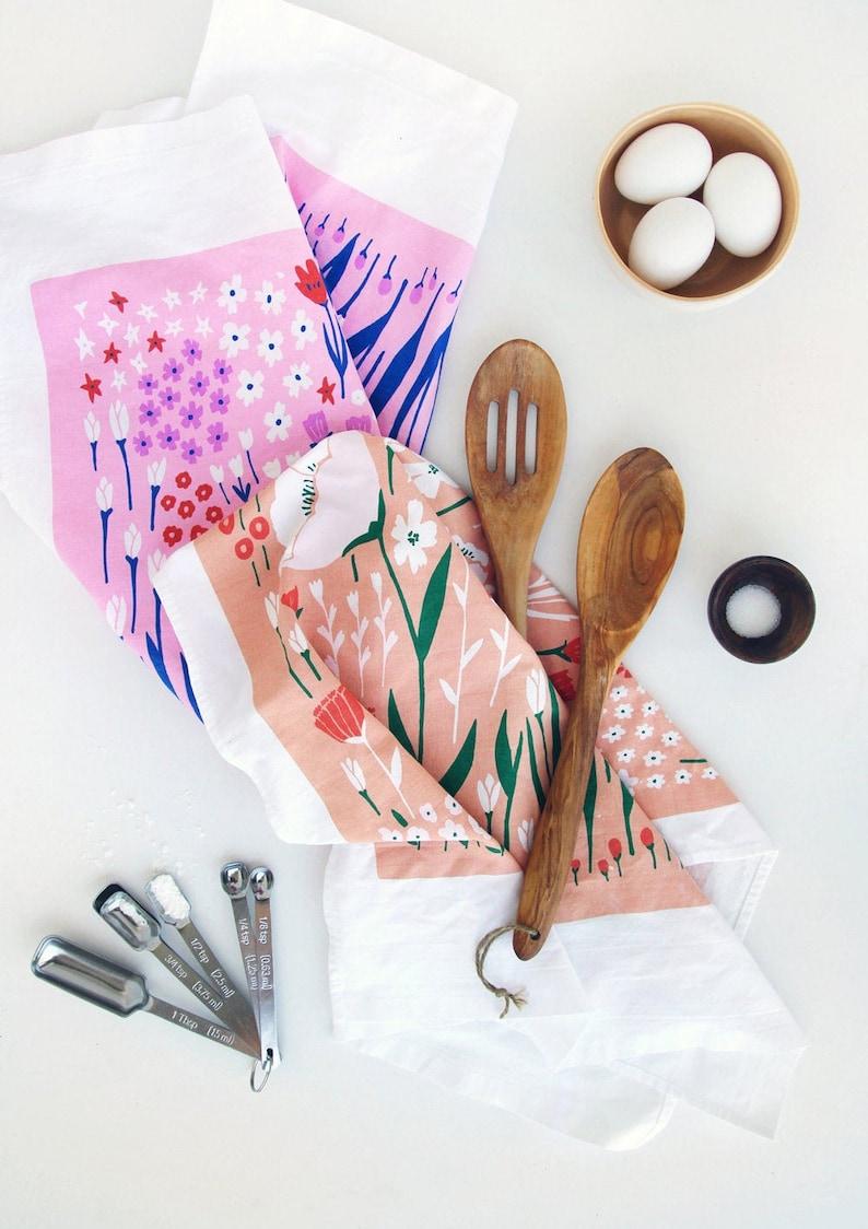 Floral Tea Towels Kitchen Towels Dishcloths Linens Poppy Design